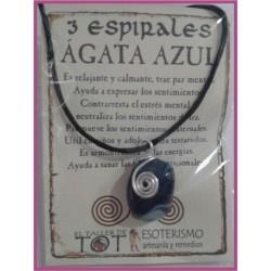 COLGANTE 3 ESPIRALES -*- AGATA AZUL