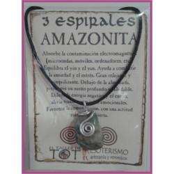 COLGANTE 3 ESPIRALES -*- AMAZONITA