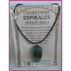 COLGANTE 3 ESPIRALES -*- AVENTURINA VERDE