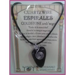 COLGANTE 3 ESPIRALES -*- GOLDSTONE AZUL/NEGRA