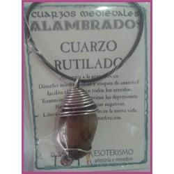 COLGANTE MEDIEVAL ALAMBRADO -*- CUARZO RUTILADO