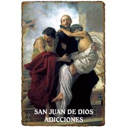 """Estampita """"Pergamino"""" - ADICCIONES - SAN JUAN de DIOS"""