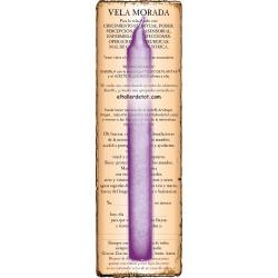 Vela MORADA 20cm. con guía y oración