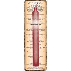Vela MARRÓN 20cm. con guía y oración