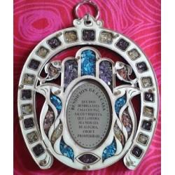 Herradura con Mano de Fatima con bendición de la casa AD13 24 Tamaño 15 cm x 12,5 cm