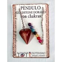 PÉNDULO mineral GOLDSTONE DORADO - liso - 01