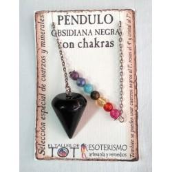 PÉNDULO mineral OBSIDIANA NEGRA con CHAKRAS- liso - 03