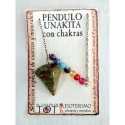 PÉNDULO mineral UNAKITA con CHAKRAS- facetado - 02