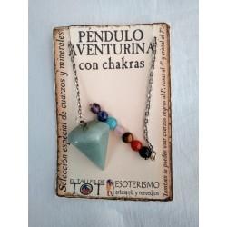 PÉNDULO mineral AVENTURINA con CHAKRAS- facetado - 04