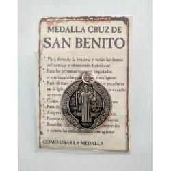 SAN BENITO - medalla cruz grande - colgante
