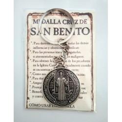 SAN BENITO - medalla cruz grande - LLAVERO