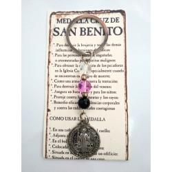 SAN BENITO - medalla cruz mediana con bolas de cristal - LLAVERO
