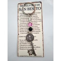 SAN BENITO - medalla cruz llave con bolas de cristal- LLAVERO