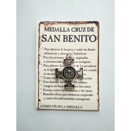 SAN BENITO - medalla cruz - colgante