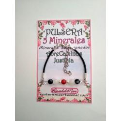 PULSERA 5 minerales - 6mm - ABRECAMINOS - JUSTICIA