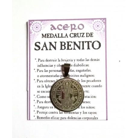 AMULETO ACERO - MEDALLA SAN BENITO - mediana - 02
