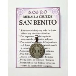 AMULETO ACERO - MEDALLA SAN BENITO -pequeña - 01