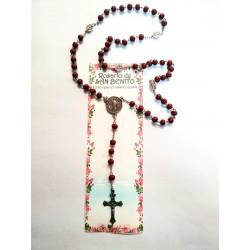 SAN BENITO - ROSARIO - Marrón oscuro - Con guía de cómo rezar el rosario