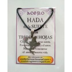AMULETO ACERO - Hada de la Suerte con Trebol