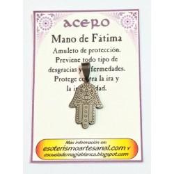 AMULETO ACERO - Mano de Fatima - 03