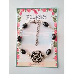 PULSERA  MINERAL - Hematite con Rosa