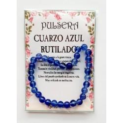 PULSERA de MINERAL - CUARZO AZUL RUTILADO - Bolas - 6m