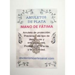 MANO DE FÁTIMA - Amuleto en plata - modelo 3