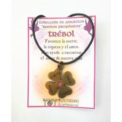 AMULETO BP - TREBOL - bronceado con crístal rosa