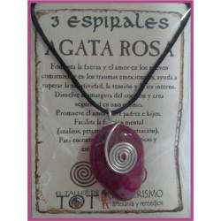COLGANTE 3 ESPIRALES -*- AGATA ROSA